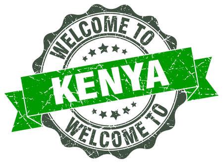 kenya: Kenya round ribbon seal Illustration