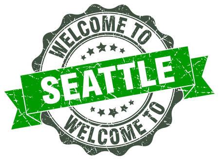 Seattle round ribbon seal Illustration