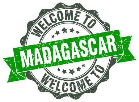 madagascar: Madagascar round ribbon seal Illustration