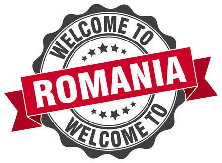 Romania round ribbon seal Illustration