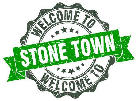Stone Town round ribbon seal Illustration