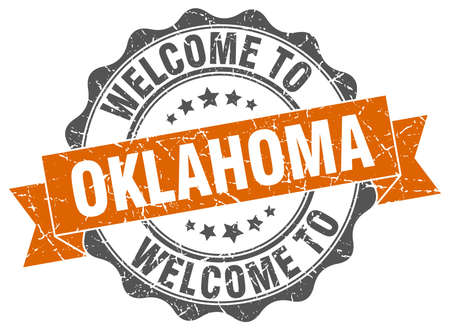 oklahoma: Oklahoma round ribbon seal Illustration