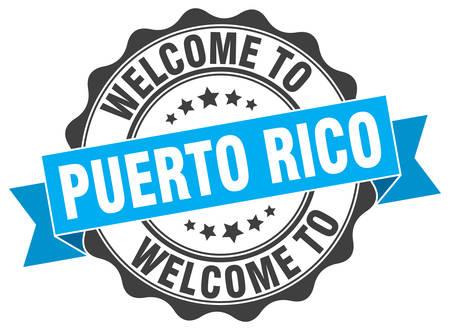 Puerto Rico round ribbon seal Illustration