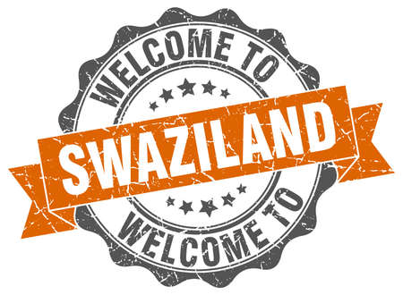Swaziland round ribbon seal Illustration