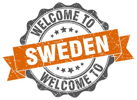 Sweden round ribbon seal Illustration