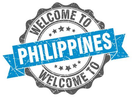Philippines round ribbon seal Illustration