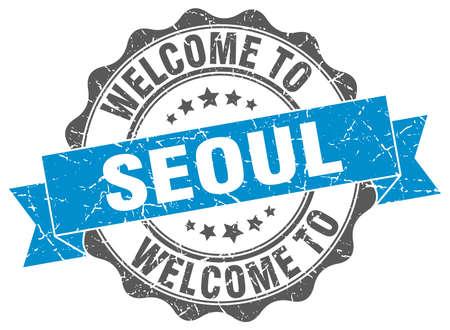 Seoul round ribbon seal Illustration