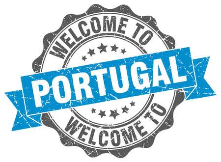 Portugal round ribbon seal Illustration