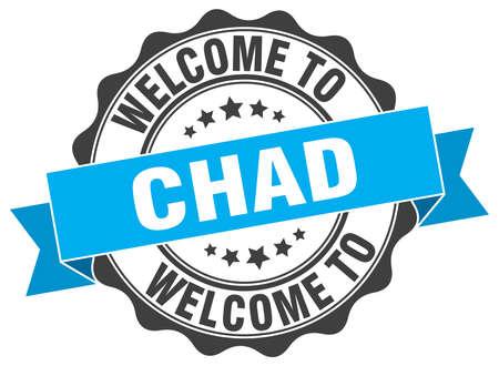 Chad round ribbon seal Vetores
