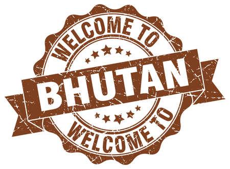 Bhutan round ribbon seal Illustration