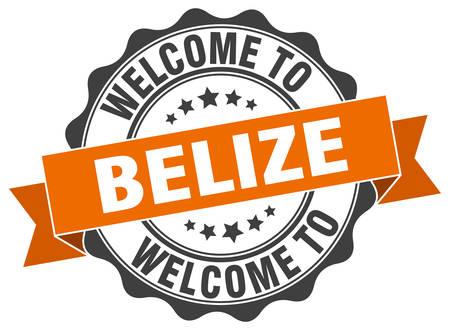 Belize round ribbon seal Illustration