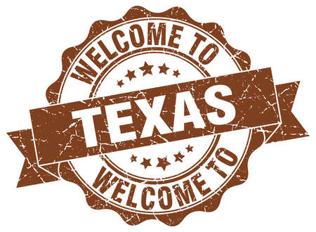 Texas round ribbon seal Illustration