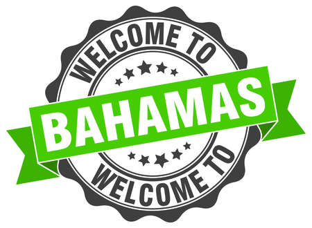 bahamas: Bahamas round ribbon seal Illustration