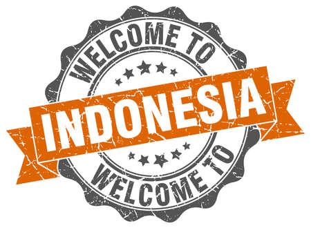 Indonesia round ribbon seal Illustration