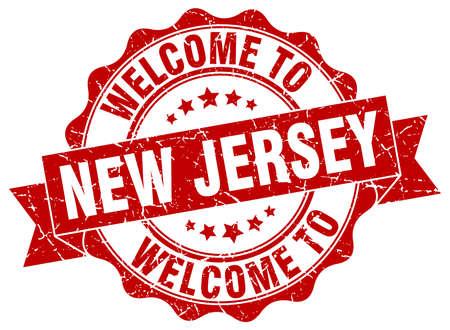 new jersey: New Jersey round ribbon seal Illustration
