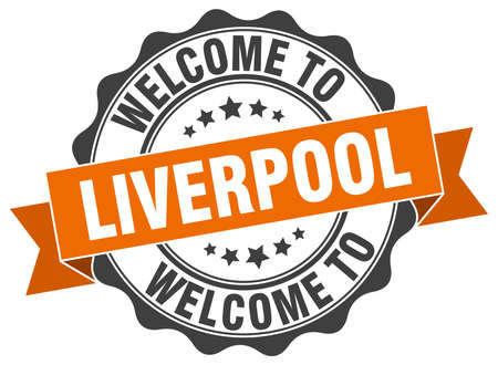liverpool: Liverpool round ribbon seal Illustration