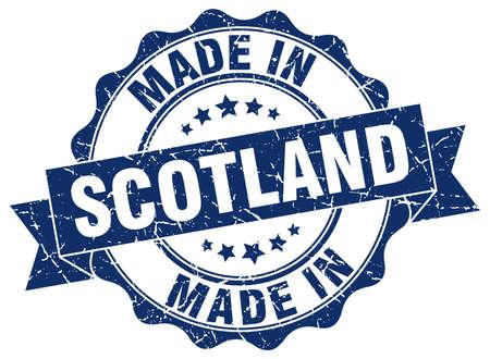スコットランドで作られた丸いシール  イラスト・ベクター素材