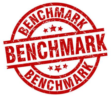 benchmark round red grunge stamp Illustration