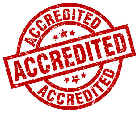 accredited: accredited round red grunge stamp
