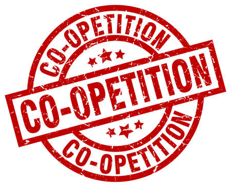 co operation: co-opetition round red grunge stamp