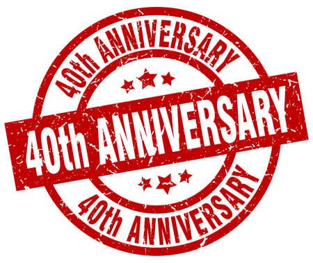 40: 40th anniversary round red grunge stamp
