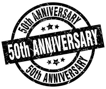 50th anniversary round grunge black stamp Illustration