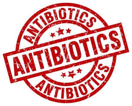antibiotics: antibiotics round red grunge stamp