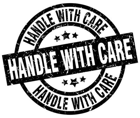 handle with care round grunge black stamp Ilustrace