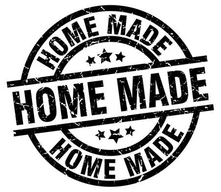 home made round grunge black stamp Vector Illustration