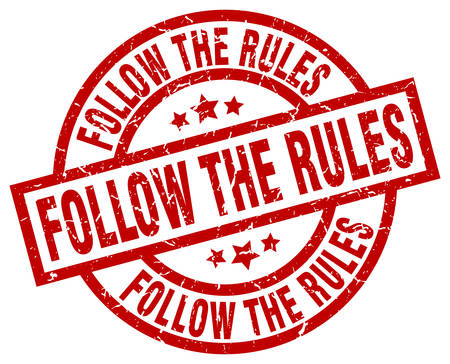 follow the rules round red grunge stamp Illustration
