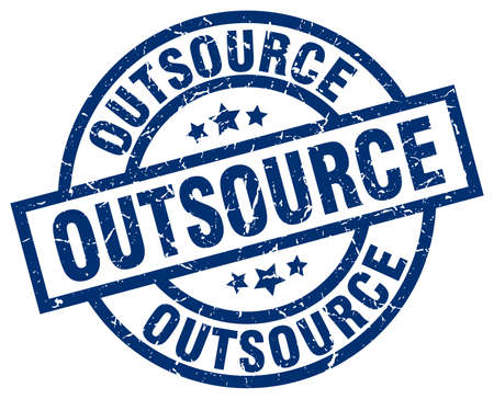 outsource: outsource blue round grunge stamp Illustration