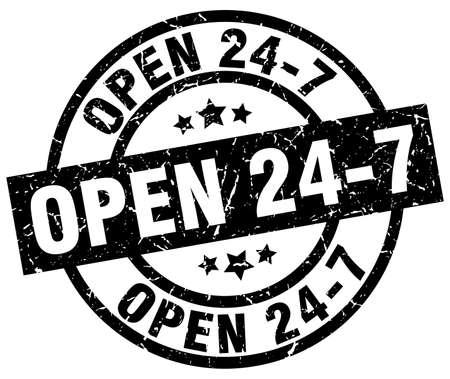 open 24 7 round grunge black stamp Illustration
