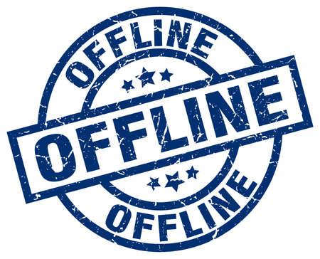 offline: offline blue round grunge stamp