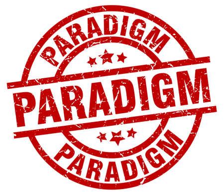 paradigm: paradigm round red grunge stamp