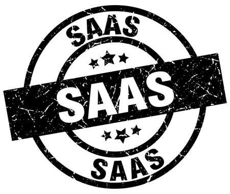 saas: saas round grunge black stamp Illustration