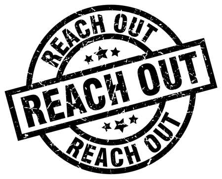 reach out round grunge black stamp Illustration
