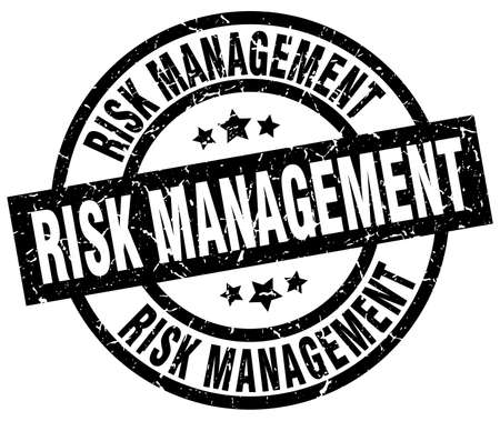 risk management round grunge black stamp