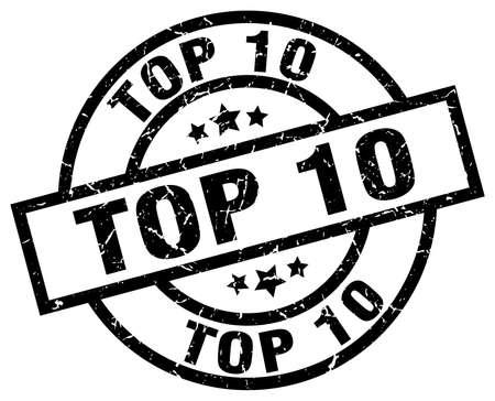 top 10 round grunge black stamp