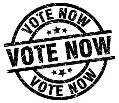 vote now round grunge black stamp Illustration