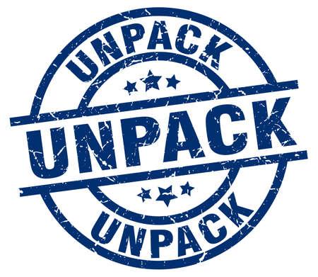 to unpack: unpack blue round grunge stamp
