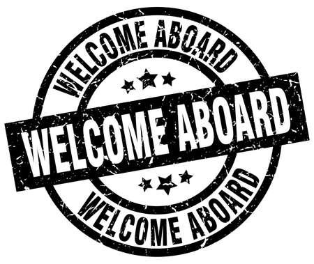 welcome aboard round grunge black stamp