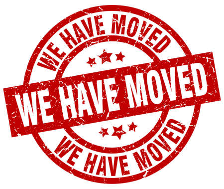 we have moved: we have moved round red grunge stamp