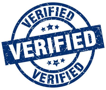 verified blue round grunge stamp