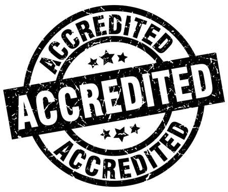 accredited: accredited round grunge black stamp