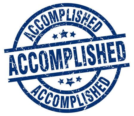accomplish: accomplished blue round grunge stamp Illustration