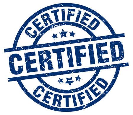 certified blue round grunge stamp Illustration