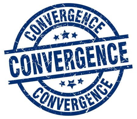 convergence: convergence blue round grunge stamp