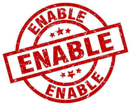 enable: enable round red grunge stamp Illustration