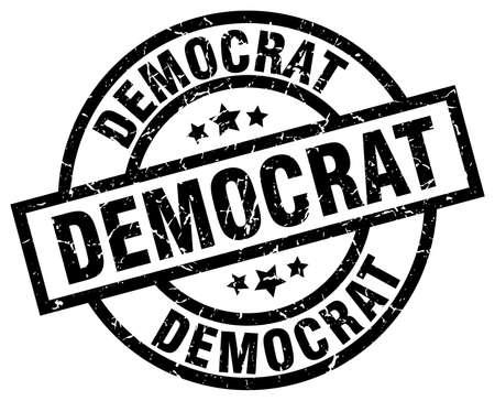 democrat round grunge black stamp