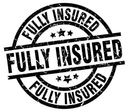 fully: fully insured round grunge black stamp